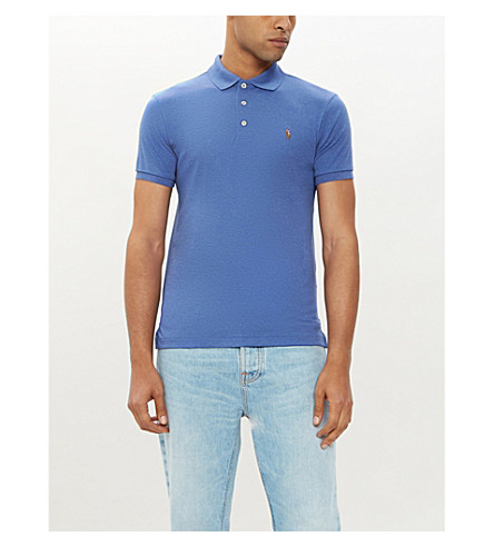 POLO RALPH LAUREN Pima Soft Touch cotton polo shirt (Faded+royal+heather