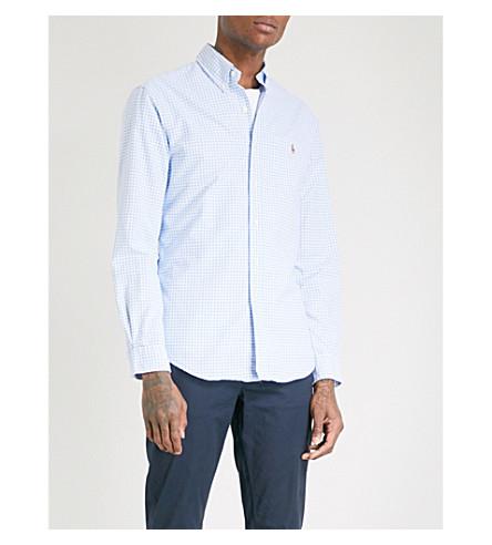 POLO RALPH LAUREN Checked slim-fit cotton shirt (Sterling+blu/wht