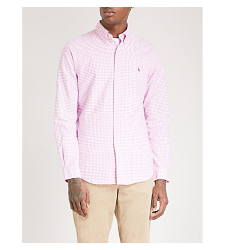 POLO RALPH LAUREN Checked slim-fit cotton shirt (2206b+powder+pink/white