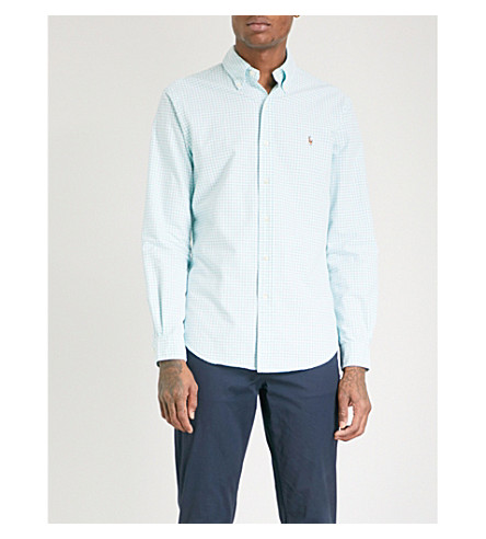 POLO RALPH LAUREN Checked slim-fit cotton shirt (Bayside+grn/wht
