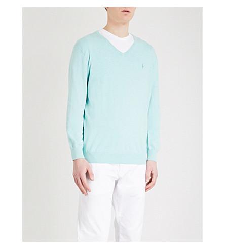POLO RALPH LAUREN Slim-fit cotton jumper (Bayside+green+heather