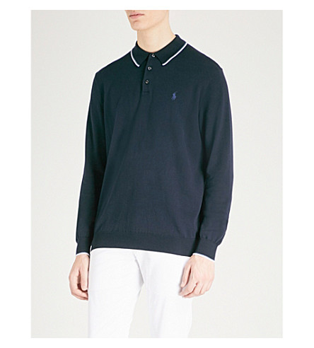 POLO RALPH LAUREN Logo-embroidered cotton-knitted polo top (Hunter+navy