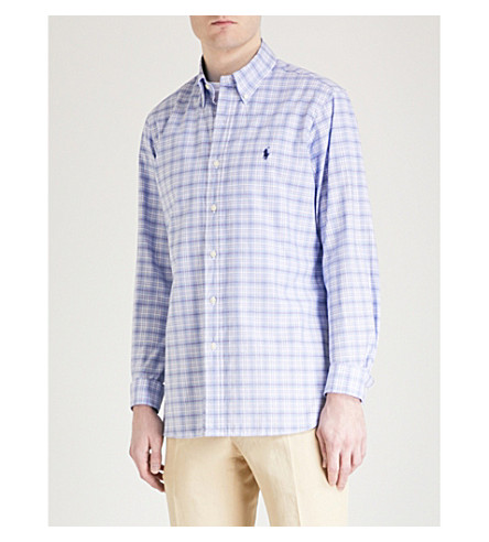 POLO RALPH LAUREN Checked slim-fit cotton shirt (2590+powder/blues+multi