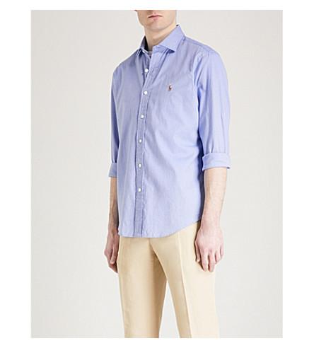 POLO RALPH LAUREN Slim-fit cotton shirt (2558a+blue/white
