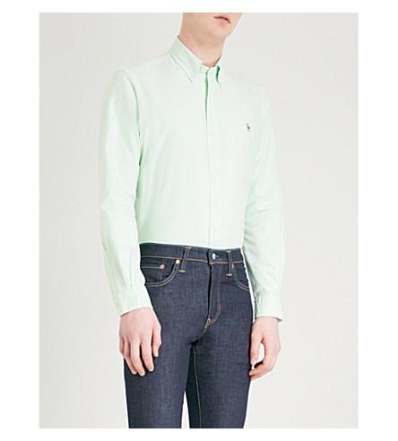POLO RALPH LAUREN Slim-fit cotton shirt (2687b+lime/white