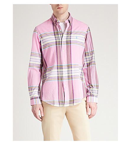 POLO RALPH LAUREN Checked regular-fit cotton-woven shirt (Petal+rose/yellow+multi