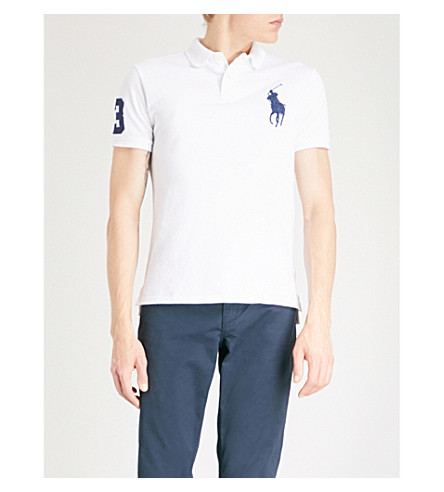 POLO RALPH LAUREN Logo-embroidered custom slim-fit cotton-pique polo shirt (White