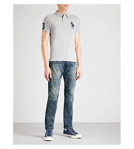 POLO RALPH LAUREN Logo-embroidered custom slim-fit cotton-piqué polo shirt (Andover+heather