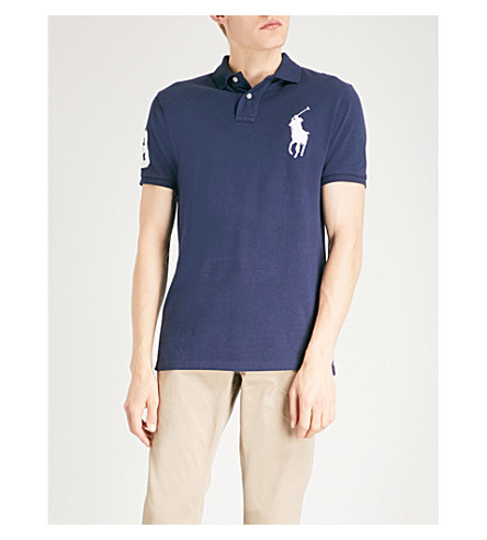 POLO RALPH LAUREN Logo-embroidered custom slim-fit cotton-pique polo shirt (Newport+navy