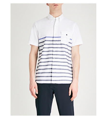 POLO RALPH LAUREN Striped regular-fit cotton oxford shirt (2294+boating+blue+stripe