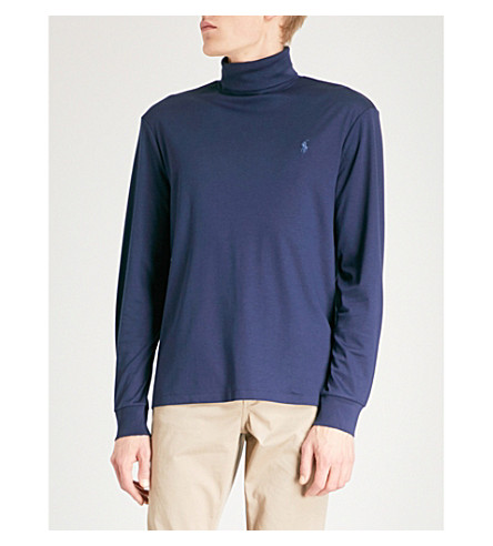 POLO RALPH LAUREN Logo-embroidered turtleneck cotton-jersey top (French+navy