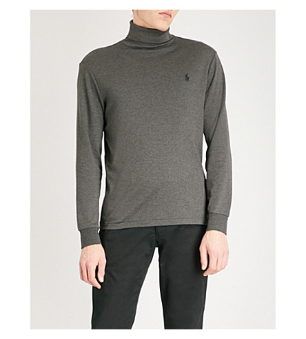 POLO RALPH LAUREN Logo-embroidered turtleneck cotton-jersey top (Bristol+heather