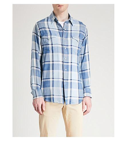 POLO RALPH LAUREN Regular-fit checked cotton-blend shirt (2671+blue/navy+multi