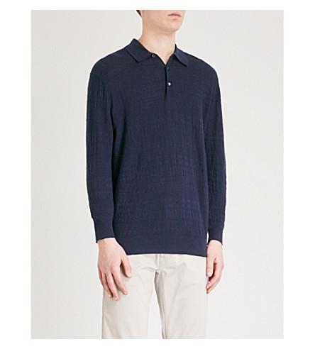 POLO RALPH LAUREN Slim-fit cotton-blend polo top (Navy