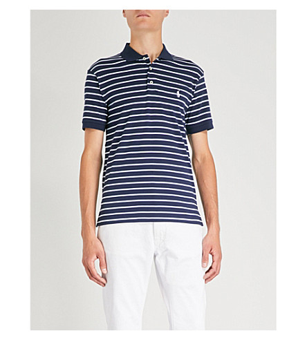 POLO RALPH LAUREN Striped cotton polo shirt (French+navy+multi