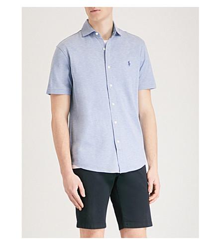 POLO RALPH LAUREN Slim-fit cotton-piqué shirt (Campus+blue+heather