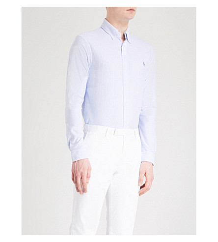 POLO RALPH LAUREN Slim-fit cotton-poplin shirt (Dress+shirt+blue/white