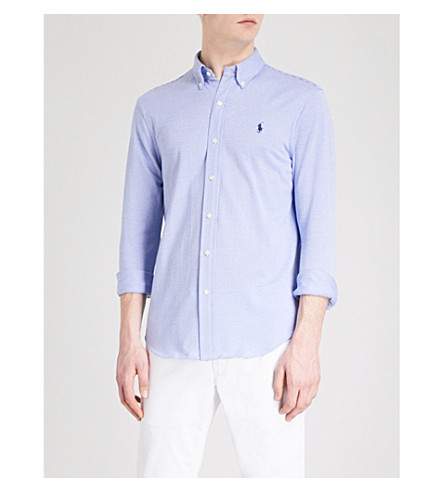 POLO RALPH LAUREN Micro-dogtooth slim-fit cotton shirt (Stratford+blue/white