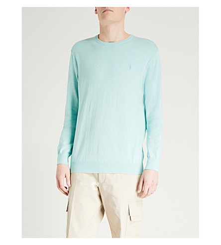 POLO RALPH LAUREN Logo-embroidered cotton jumper (Bayside+green+heather