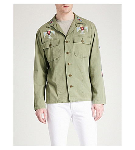 POLO RALPH LAUREN Eagle-embroidered cotton-denim shirt (Army+olive