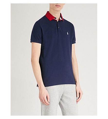 POLO RALPH LAUREN Custom slim-fit cotton-piqué polo shirt (Cruise+navy