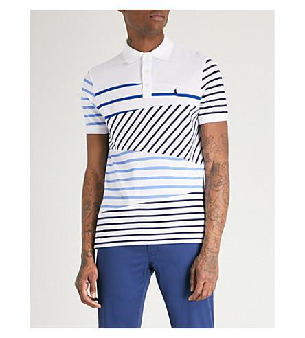 POLO RALPH LAUREN Striped cotton-piqué polo shirt (Striped+patchwork