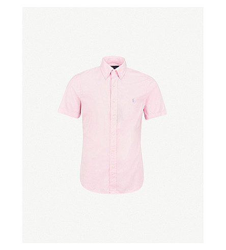 POLO RALPH LAUREN Logo-embroidered slim-fit cotton-twill shirt (Carmel+pink