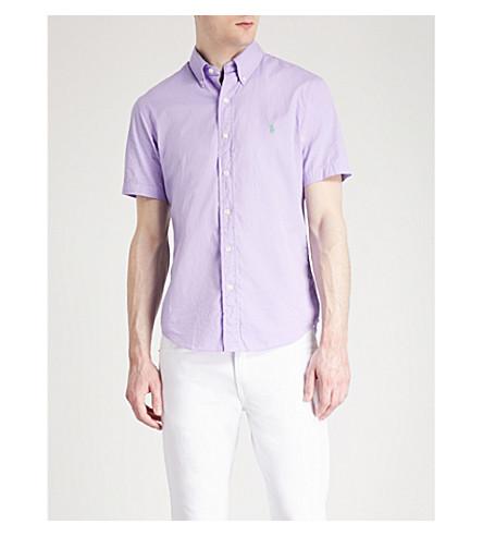 bordada slim algodón LAUREN Camisa RALPH fit Powder con POLO de de purple logo sarga Az4q6t