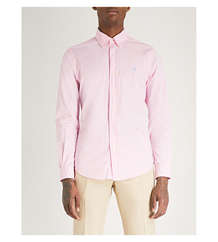 POLO RALPH LAUREN Slim-fit cotton-twill shirt (Carmel+pink