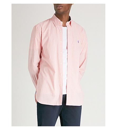 POLO RALPH LAUREN Checked slim-fit cotton shirt (2581a+peach/white