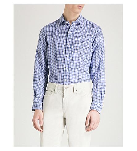 Navy RALPH shirt POLO multi LAUREN white Slim fit linen vcTqYCO