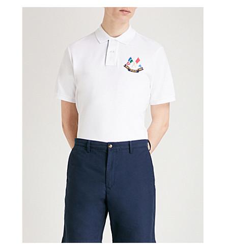 POLO de algodón en piqué RALPH Flags LAUREN Polo Blanco Cross qxq8pBr