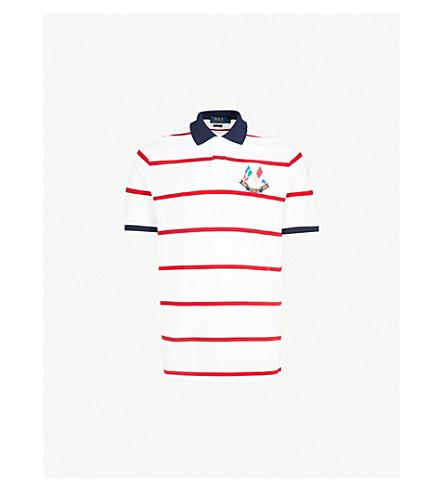 POLO RALPH LAUREN Cross Flags cotton-piqué polo shirt (White/ralph red