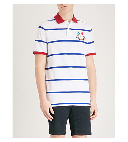 POLO RALPH LAUREN Cross Flags cotton-piqué polo shirt White/sapphire star Collections Online Outlet Footlocker Best Prices Sale Online 0rxs5