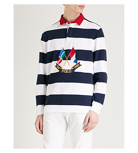 POLO RALPH LAUREN Cross Flags embroidered cotton-jersey polo top (Cruise+navy/white