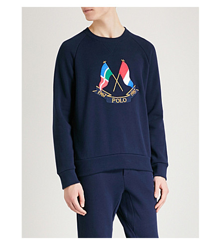 POLO RALPH LAUREN Cross Flags cotton-jersey sweatshirt (Cruise+navy