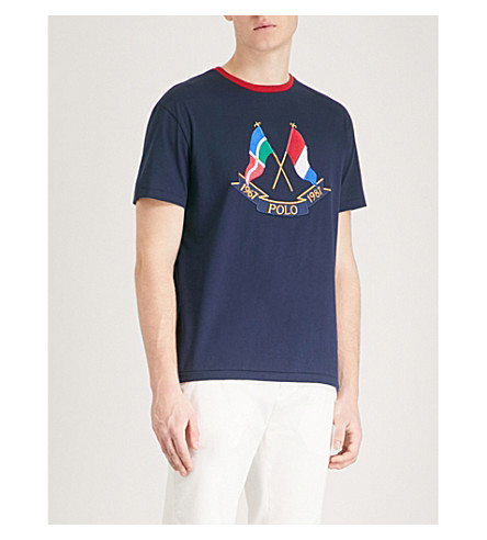 POLO RALPH LAUREN Cross Flags cotton-jersey T-shirt (Cruise+navy