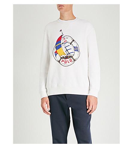 POLO RALPH LAUREN Logo-print cotton-jersey jumper (Deckwash+white