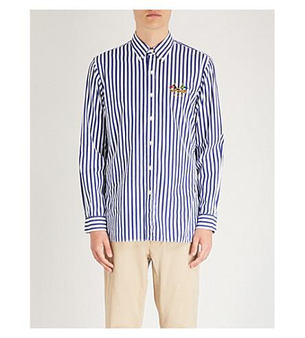 azul rayas fit slim 2317a de LAUREN Camisa blanco RALPH algodón a POLO nqWSgvx