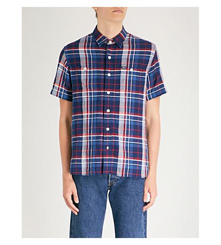 2458 algodón confeccionada de LAUREN azul mezcla en multi RALPH de POLO regular rojo Camisa corte pwtPH0