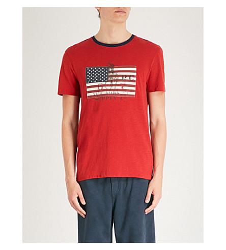 roja POLO algodón de personalizada LAUREN ajustada Boina Camiseta de estampado RALPH con jersey bandera de 6xY64rfnp