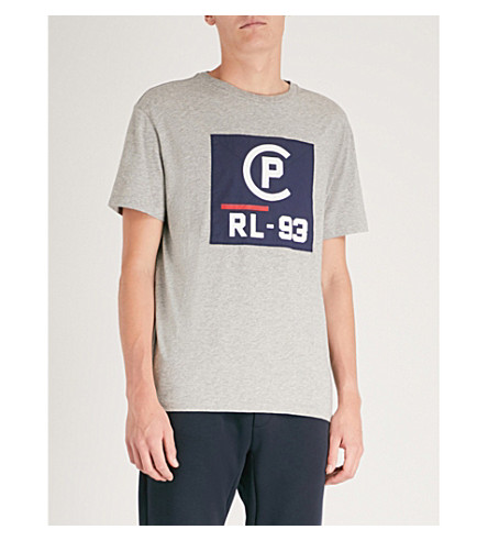 POLO RALPH LAUREN 徽标打印平纹针织棉 T 恤 (安多佛 + 希瑟