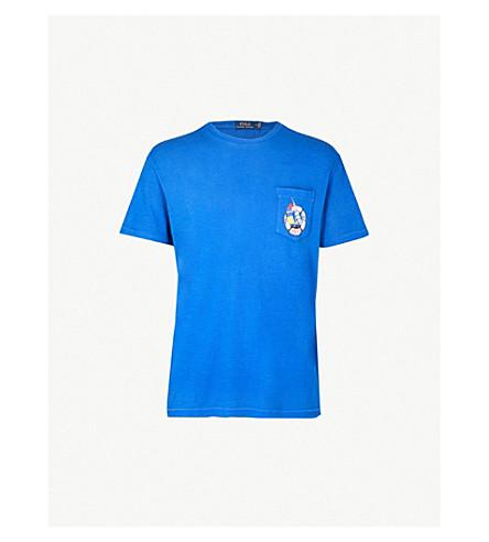 POLO RALPH LAUREN 徽标打印平纹针织棉 T 恤 (巡航 + 皇家