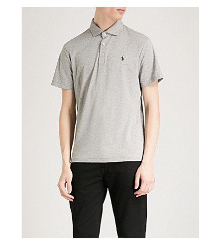 POLO RALPH LAUREN Slim-fit cotton-jersey polo shirt (Andover+heather