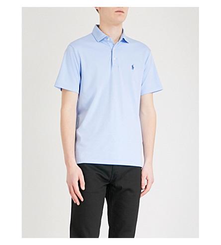 POLO RALPH LAUREN Slim-fit cotton-jersey polo shirt (Austin+blue