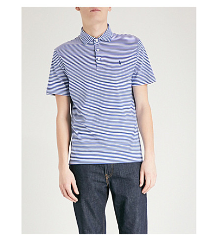 POLO RALPH LAUREN Striped custom slim-fit cotton-jersey polo shirt (Provincetown+blue/white