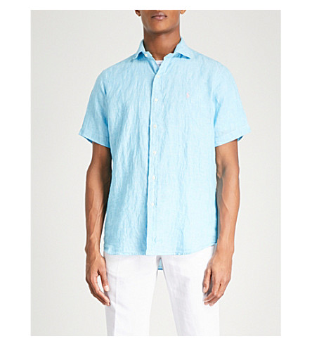 POLO RALPH LAUREN Logo-embroidered regular-fit linen shirt (2589b+turquoise/white