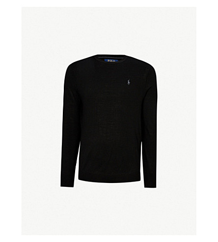 POLO RALPH LAUREN Logo-embroidered wool sweater (Polo black