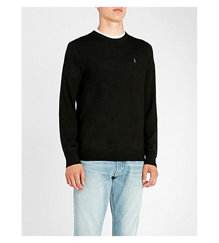 negro con Jersey lana Polo POLO logo bordado RALPH LAUREN de aqWZOz