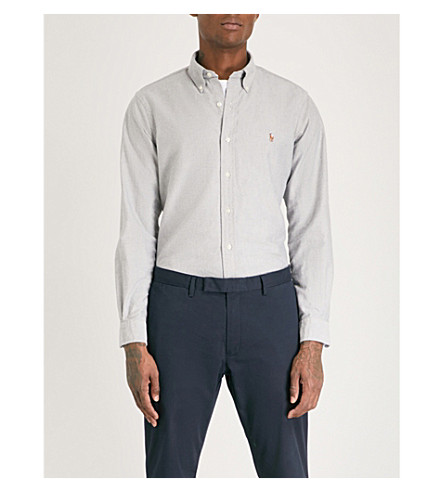 bordada con de Camisa algodón POLO LAUREN slim logo RALPH pizarra 2535a fit wq78Hg